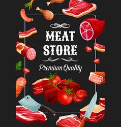 Meat store sausages butchery delicatessen vector
