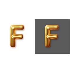 Metallic gold alphabet letter symbol - f vector