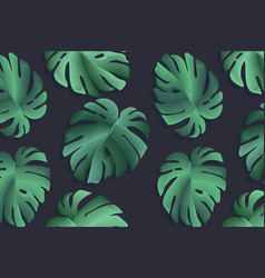 monstera realistic leaf tropical jungle palm vector image