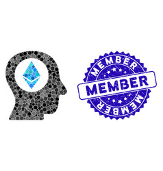 Mosaic ethereum mind icon with textured member vector