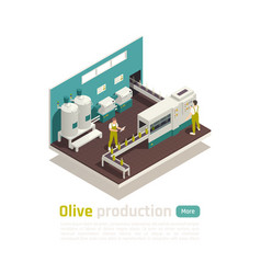 Olive production isometric composition vector