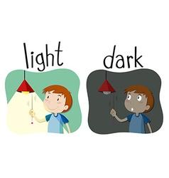Opposite adjectives light and dark vector