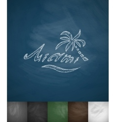 palm Miami icon Hand drawn vector image
