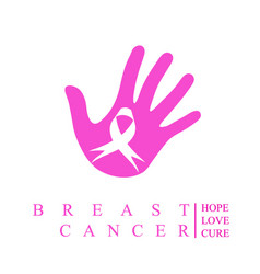 Palm with breast cancer awareness ribbon vector