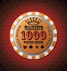 Poker chip 1000 on red background vector image