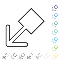 Pull left down icon vector