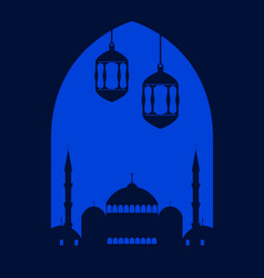 ramadan kareem festive greeting card with mosque vector image