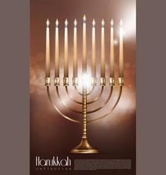 realistic happy hanukkah concept vector image