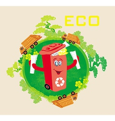 Recycling red bin with papers ecology concept with vector