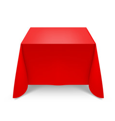 Red tablecloth on white background for design vector