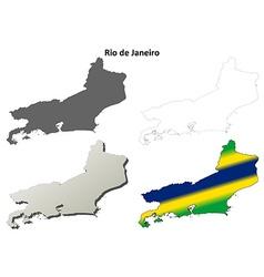 Rio de Janeiro blank outline map set vector image