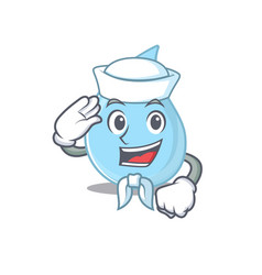 Sailor cartoon character raindrop with white hat vector