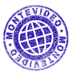 Scratched textured montevideo stamp seal vector