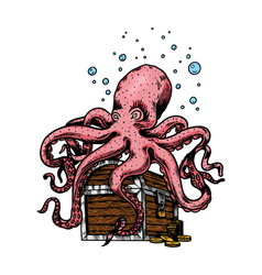 sea octopus sitting on a pirate chest with gold vector image