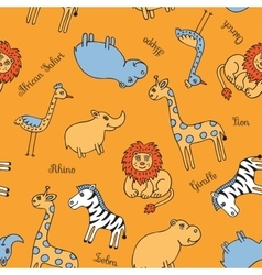 Seamless pattern animal Safari vector image