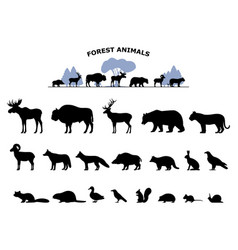 set black silhouette wild forest steppe animals vector image