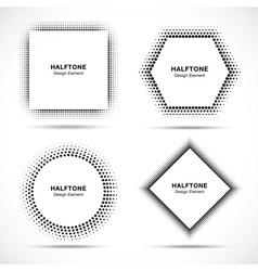 Set of Black Abstract Halftone Circles vector