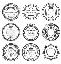 Set of round retro labels vector image