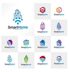 set smart city tech logo city net logo vector image