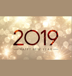 Shiny happy new year 2019 poster with gold vector