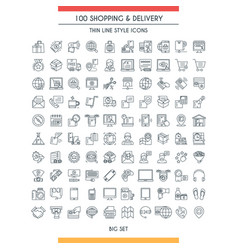 Shopping and delivery line icons vector