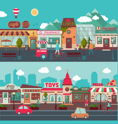 Shopping street horizontal banners vector