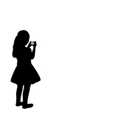 silhouette girl photographer looking camera vector image