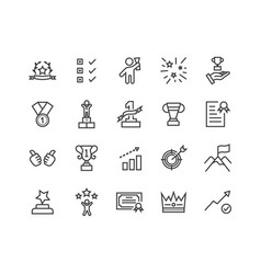 simple set success related line icons vector image
