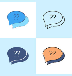 speech bubble with question sign icon set in flat vector image