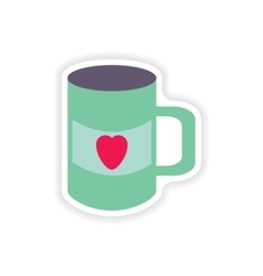 Stylish paper sticker on white background cup vector
