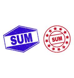 Sum unclean watermarks in circle and hexagonal vector