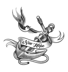 swallow and ship anchor tattoo in engraving style vector image