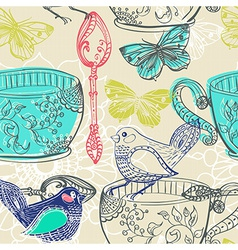 Tea time with flowers and bird seamless pattern vector