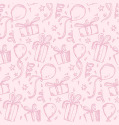 tender pink pattern with sketch gifts and balloons vector image
