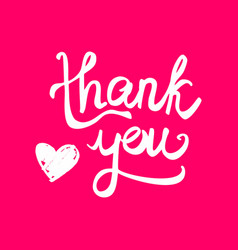 thank you handwritten card with heart on pink vector image