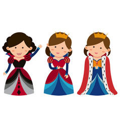Three queens on white background vector