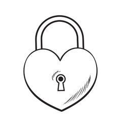 Traditional heart shaped padlock for love lock vector image