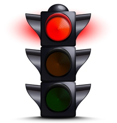 Traffic light on red vector