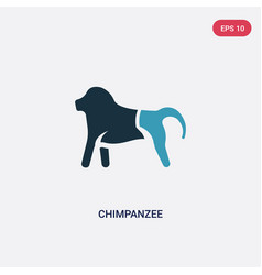 two color chimpanzee icon from animals concept vector image
