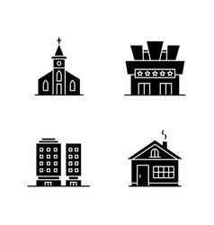 Urban buildings black glyph icons set on white vector