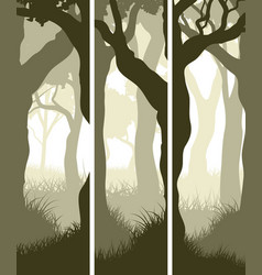 Vertical banners of tree trunks with grass vector