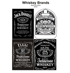 Vintage alcohol whiskey brand black and white vector