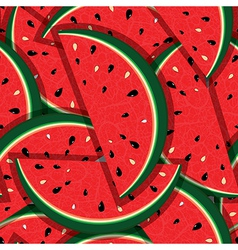 Watermelon fresh slices seamless background vector image