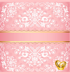 wedding card with floral pattern and rings vector image