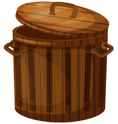 Wooden trashcan with lid vector