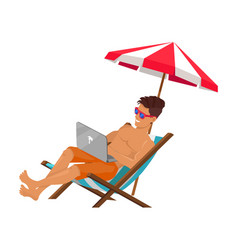 Working freelancer on summer vacation color poster vector