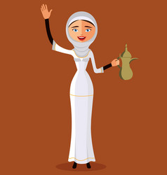 Arab woman holding an coffee pot and waving hand vector