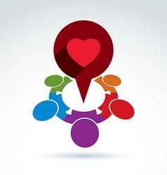 Heart and society icon medical organization vector image vector image