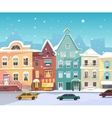 Sunny City street at Winter Cartoon buildings vector image