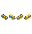 small isometric yellow striped school bus vector image